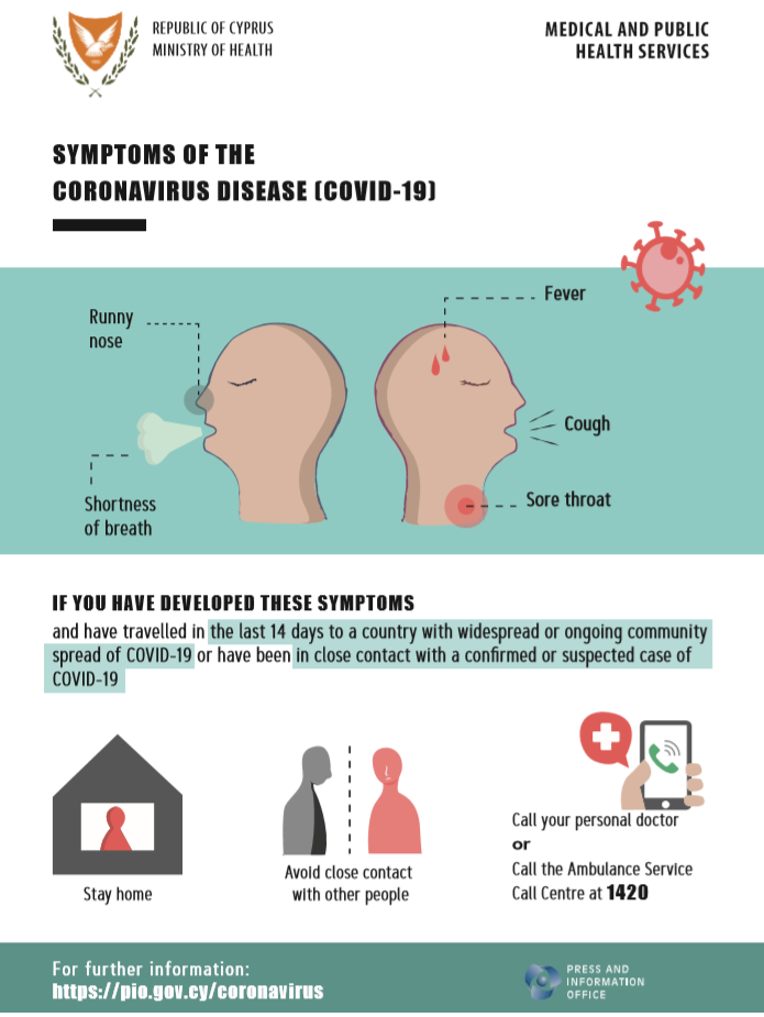 Information and guidelines on symptoms of the Coronavirus disease (COVID-19) in the following languages: